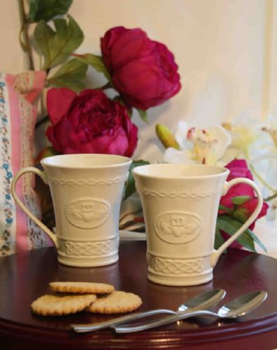 Belleek Claddagh Mugs Set of Two